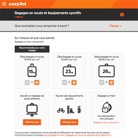 Easyjet Bagages