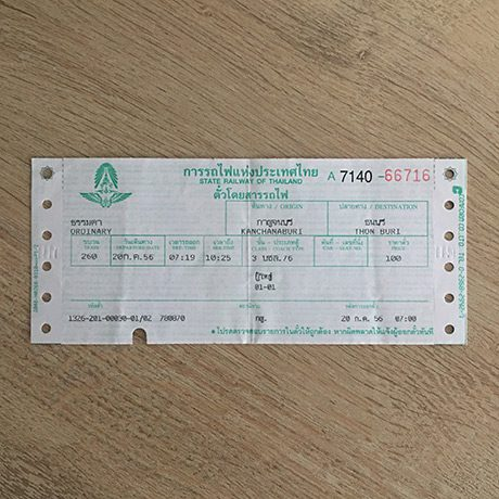 Ticket Train Thaïlande